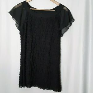 Cocomo black short sleeve ruffled shirt